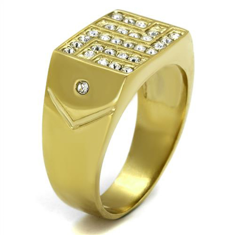 ARTK2311 Mens Stainless Steel 14K Gold Ion Plated .46 Ct Simulated Diamond Ring Size 8-13