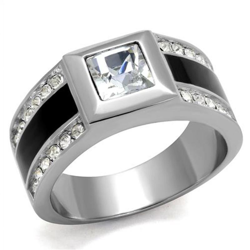 Mens Princess & Round Cut Simulated Diamond Stainless Steel & Epoxy Ring Sz 8-13