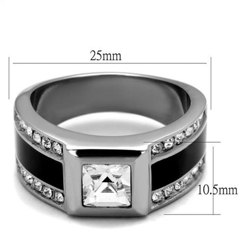 ARTK2308 Stainless Steel & Epoxy Princess & Round Cut Simulated Diamond Ring Mens Sz 8-13