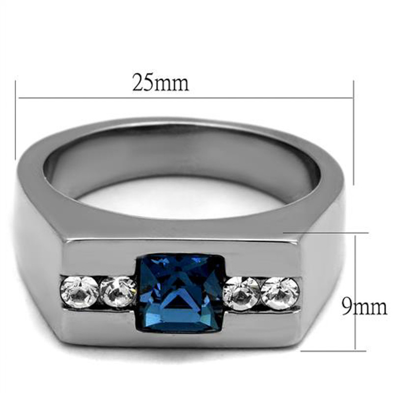 ARTK2307 Stainless Steel 1.68Ct Montana Princess Cut Simulated Diamond Ring Men's Sz 8-13