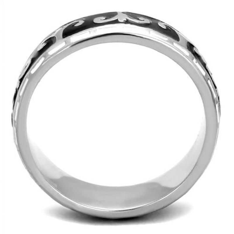 ARTK2154 Women's Stainless Steel 316 Black & White Epoxy Celtic Wedding Band Ring Sz 5-10
