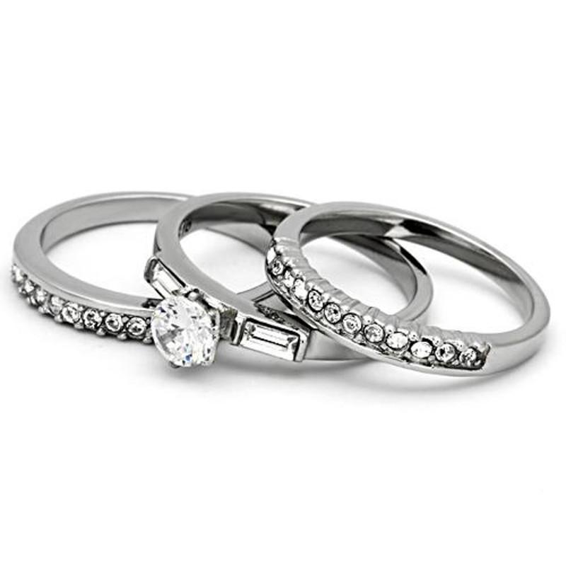 ARTK973 Women's 1Ct Round Cut & Baguette 3 Piece Wedding & Engagement Ring Set Size 5-10