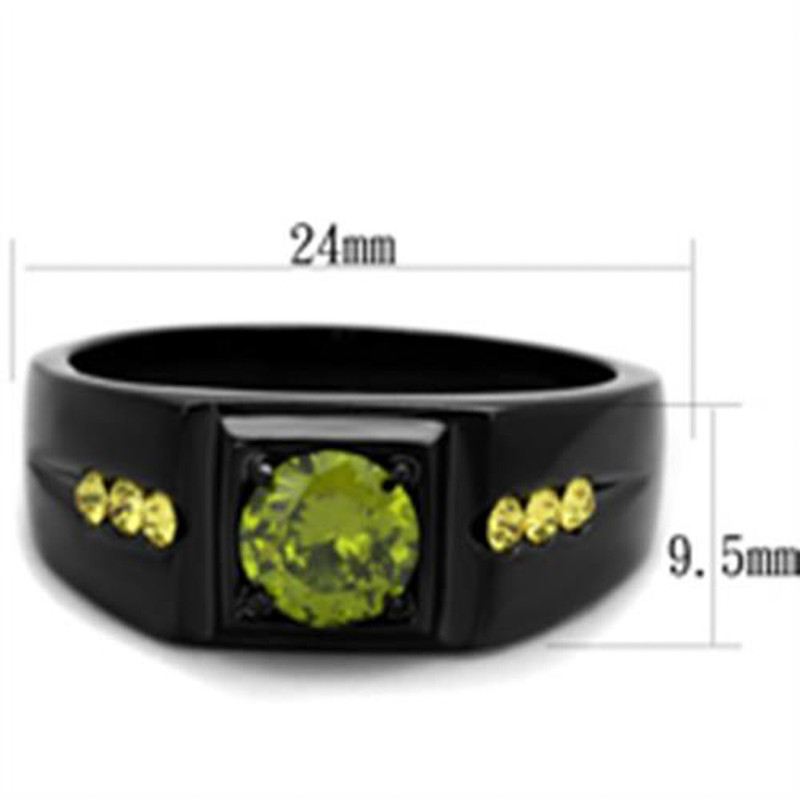 ARTK1928 Men's Stainless Steel Black Ion Plated 1 Ct Olivine Green Simulated Diamond Ring