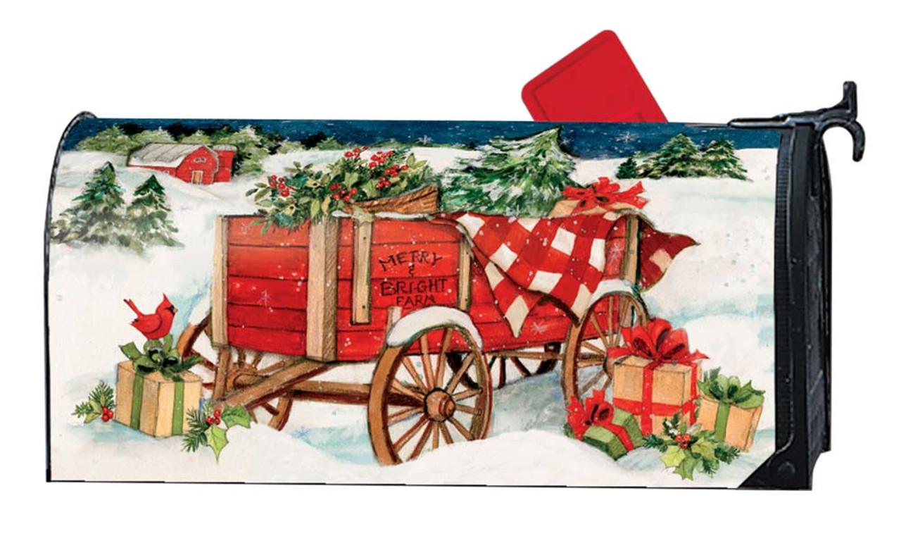 Christmas Mailbox.Christmas Farm Wagon Magnetic Mailbox Cover