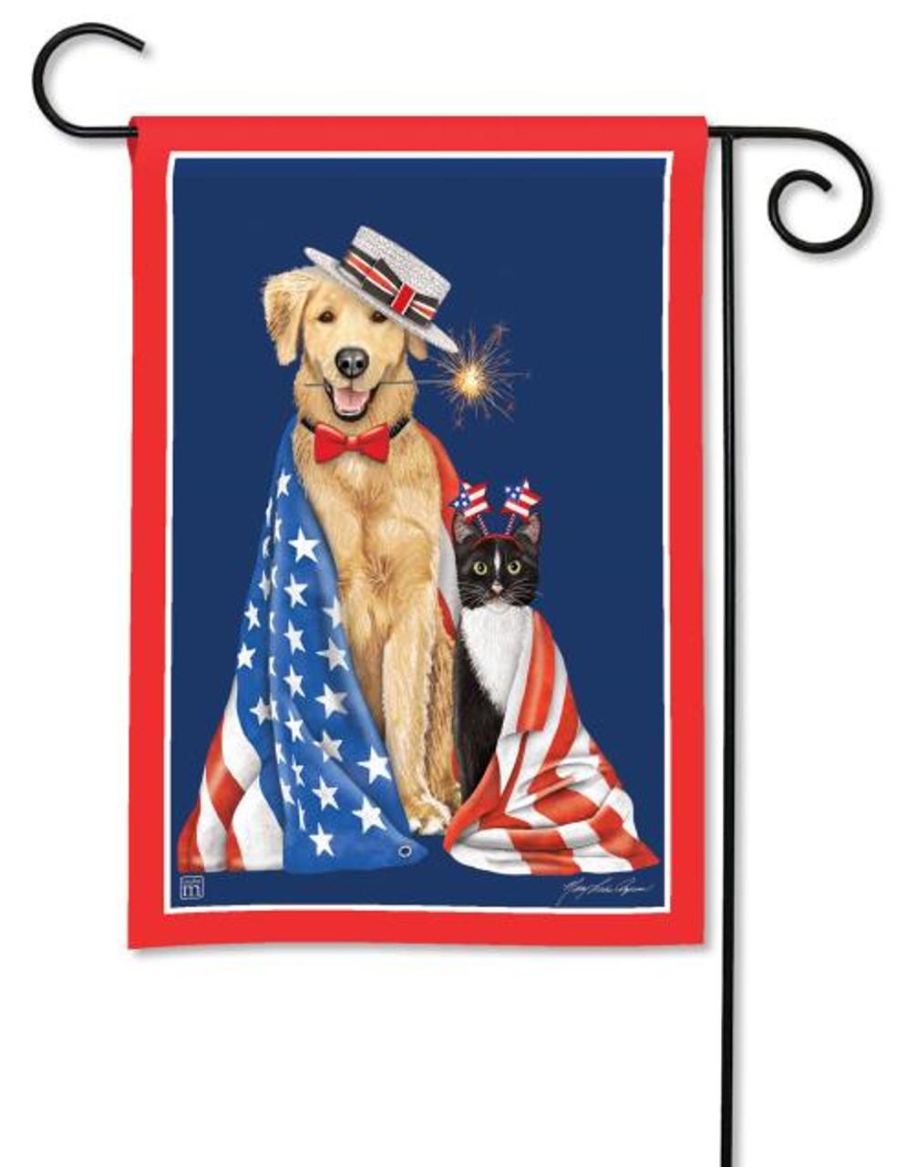 BreezeArt Patriotic Puppies Garden Flag