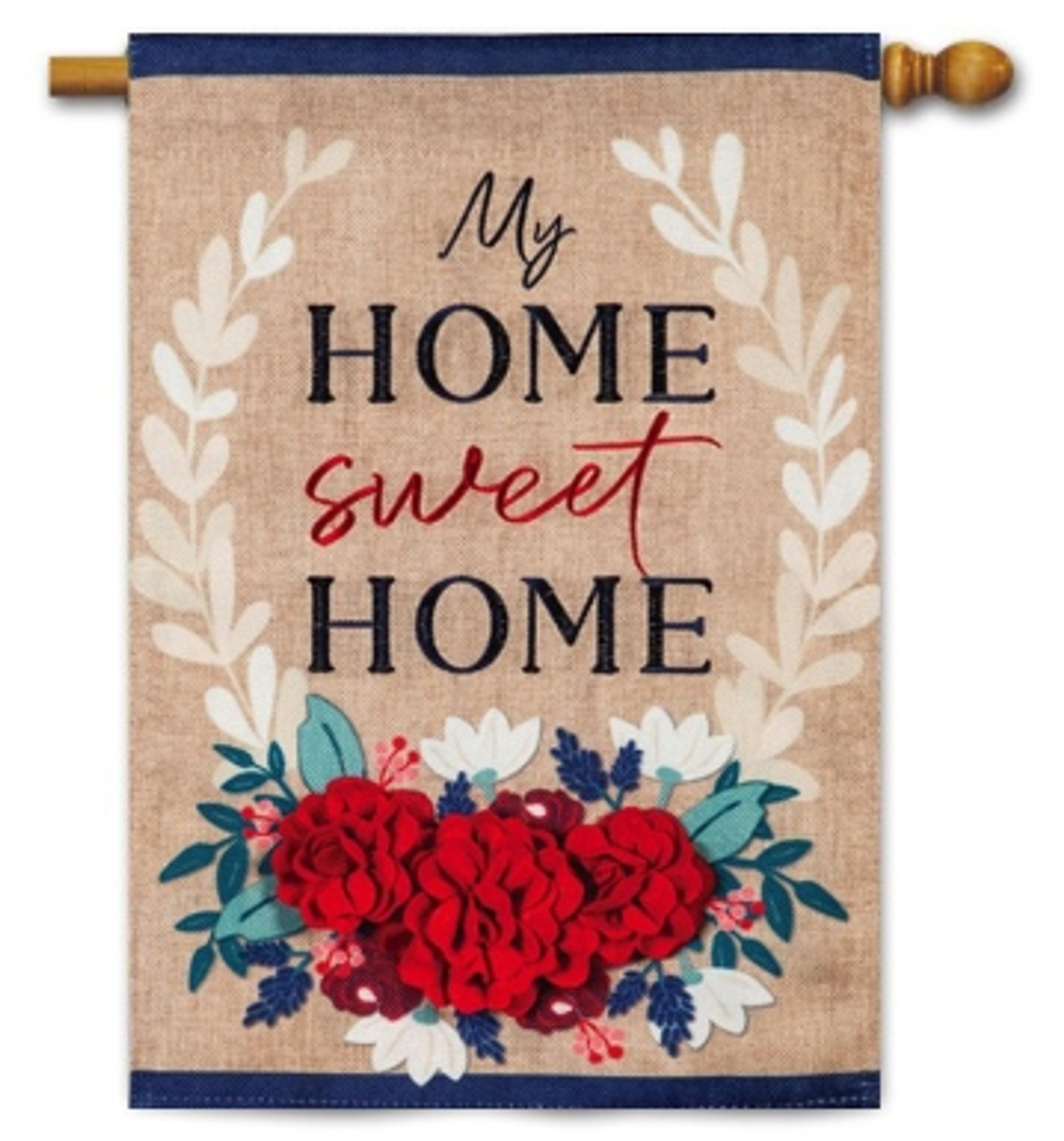 Patriotic Floral Home Sweet Home Burlap House Flag By Evergreen Flags 28 X 44 House Flags