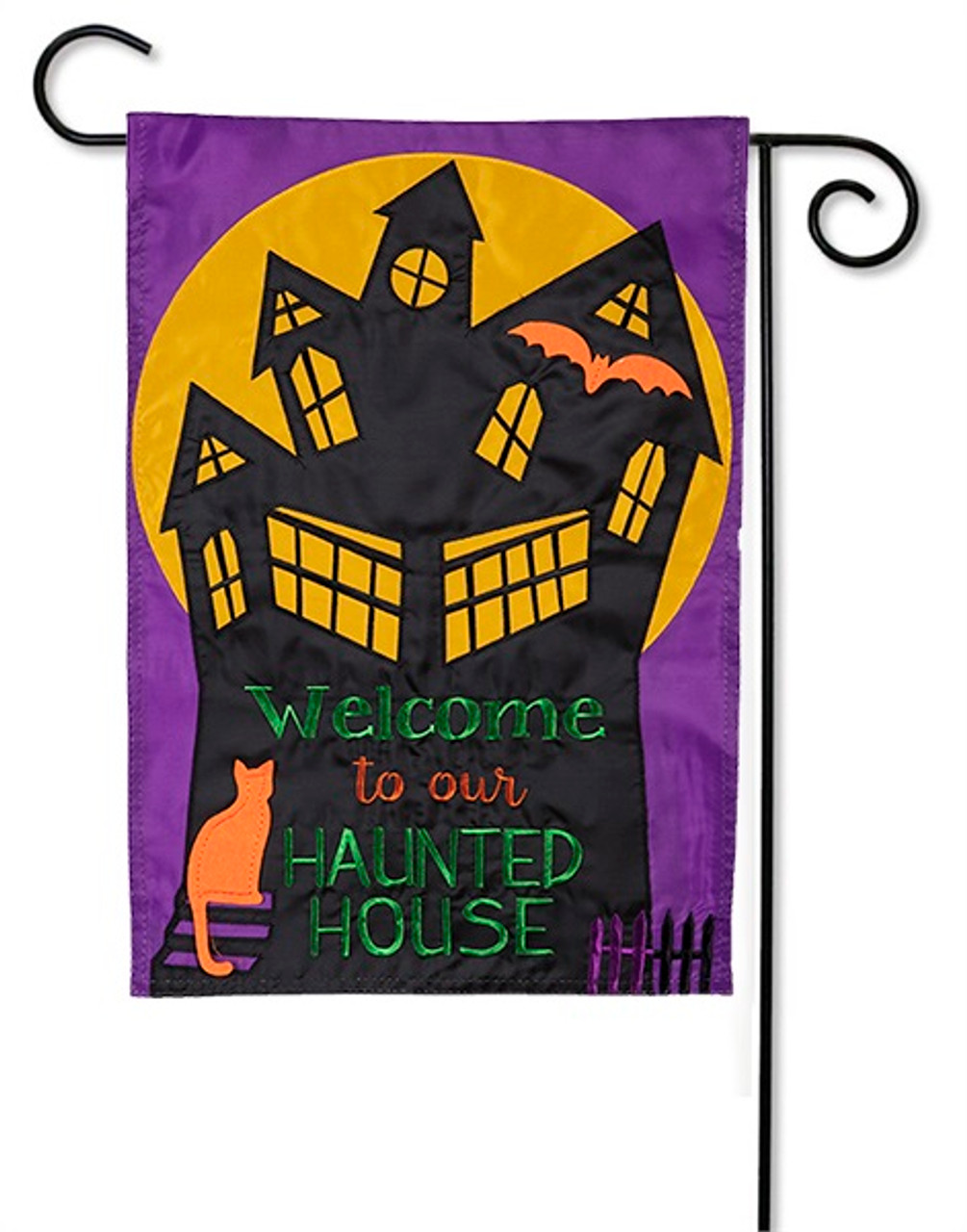 Haunted House Applique Garden Flag By Evergreen Flags 12 5 X 18 Garden Flags