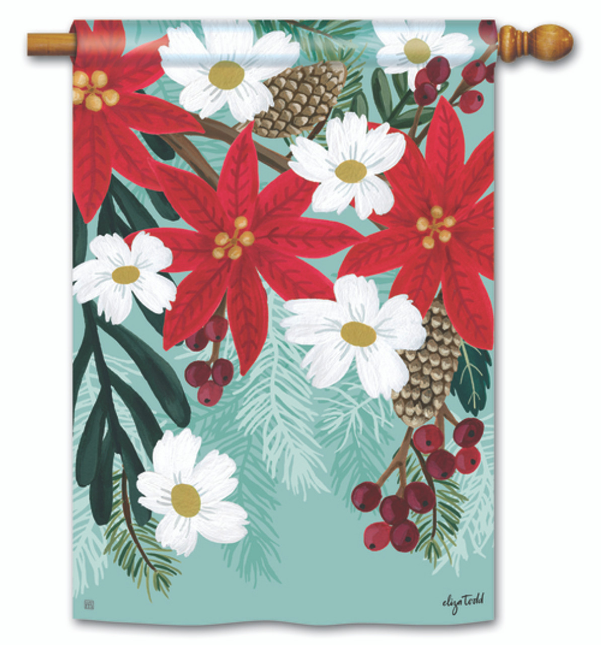 Poinsettia Bloom House Flag By Breezeart 28 X 40 House Flags