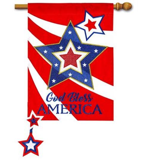 61098197c3ac God Bless America Star Applique House Flag - 28