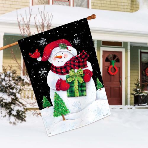 Buffalo Check Snowman House Flag By Breezeart Flags 28 X 40 House Flags