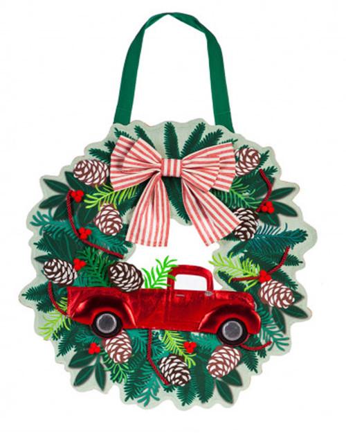Christmas In Evergreen Truck.Holiday Red Truck Wreath Burlap Door Decor 18 X 22 Evergreen