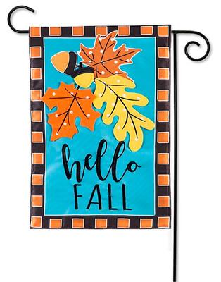 Hello Fall Leaves Applique Garden Flag By Evergreen Flags 12 5 X 18 Garden Flags