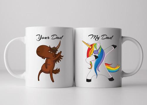 Your Dad vs. My Dad Rainbow Unicorn Mug