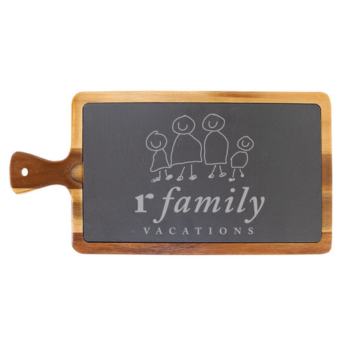 rFamily Vacations Wood/Slate Charcuterie Board