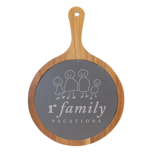 rFamily Vacations Round Wood/Slate Serving Board