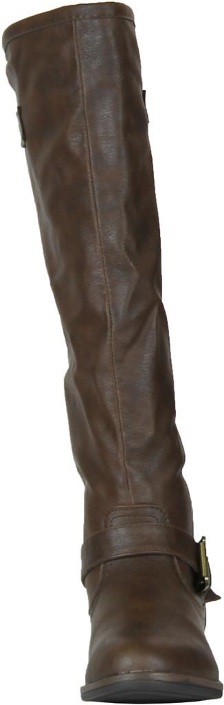 Montage83 Brown Crp Contrast Zipper Metal Stud Buckle Riding Boot