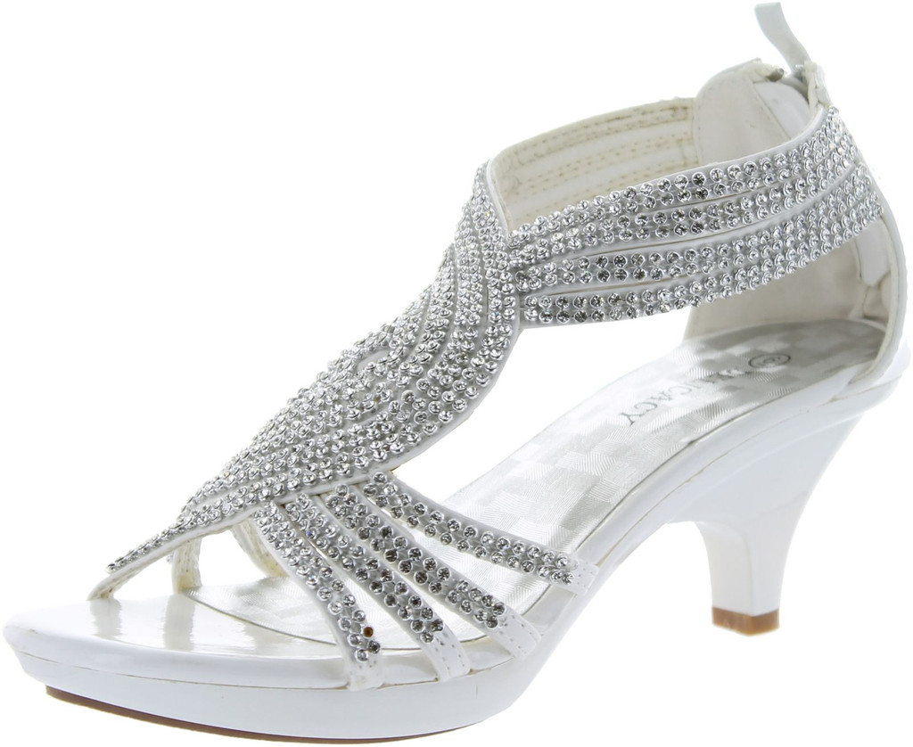 e94b9a8ca2e Delicacy Womens Angel-37 Strappy Rhinestone Dress Sandal Low Heel Shoes -  ShoeCenter.com