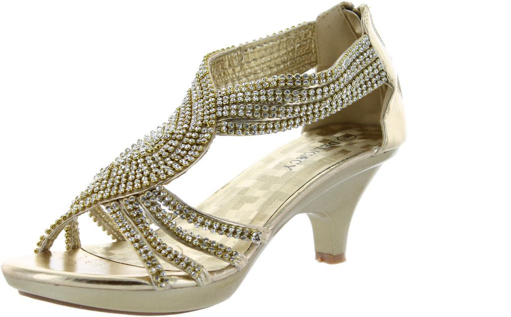a413e966c0d Delicacy Womens Angel-37 Strappy Rhinestone Dress Sandal Low Heel Shoes