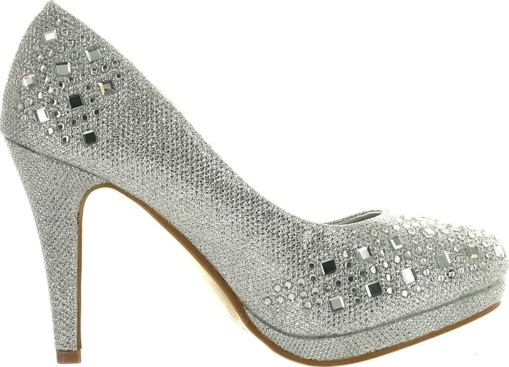 Round Toe Glitter Mesh Rhinestone Studded Low Platform Pump Heels