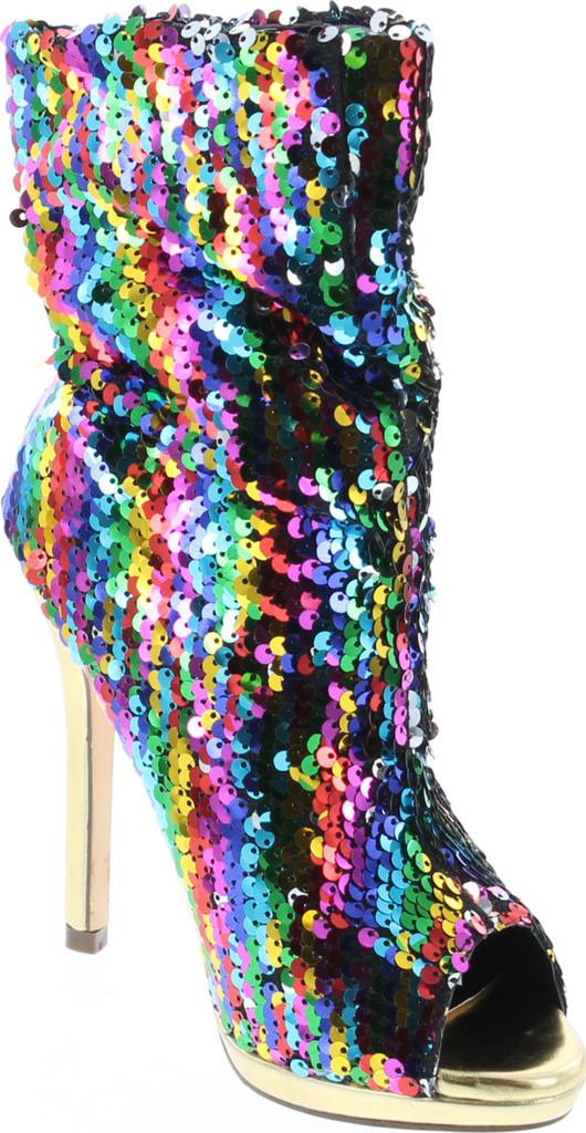 Liliana Maxim-12 Multi Color Sequins Peep Toe High Heel Above Ankle Bootie