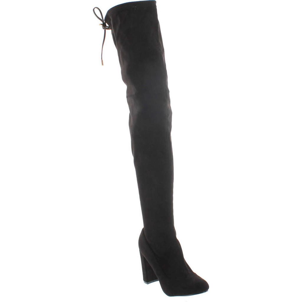 Liliana Kenzy-6 Women's Drawstring Tie Chunky Heel Over Knee High Stretchy Boots