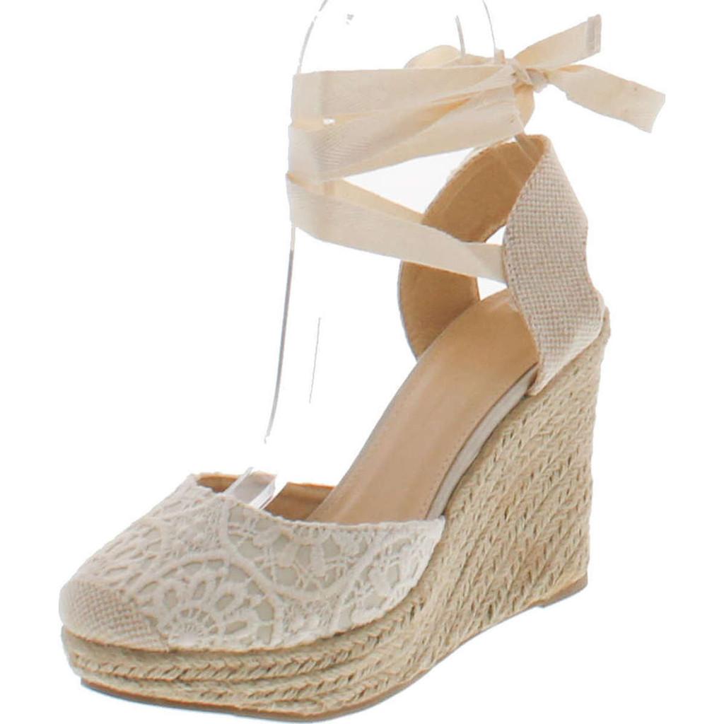 47bb864dbe05 Wild Diva Maegan-32 Womens Floral Crochet Ankle Wrap Slingback Espadrille  Wedge - ShoeCenter.com