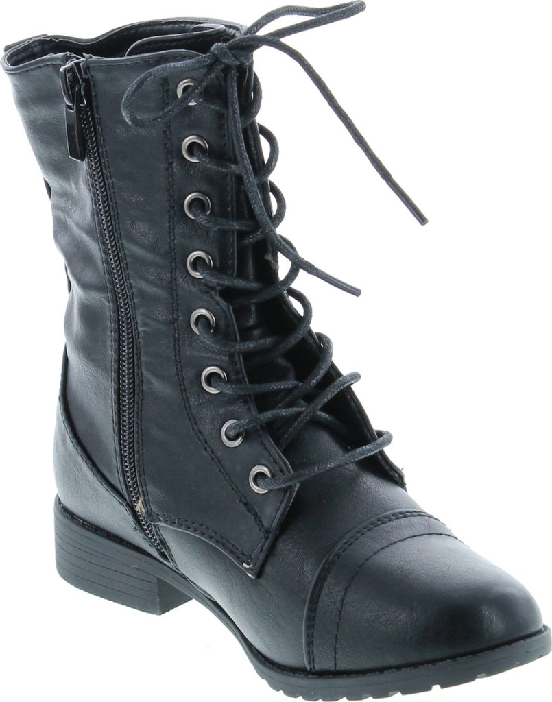 LINK BEYONCE-62K Children Girl/'s Comfort Lace Up Mid Calf Combat Boots