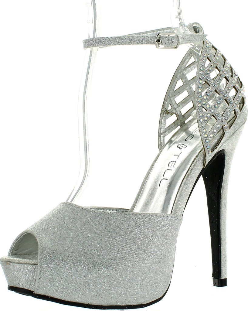 9688948845f7 Kiss & Tell Ailie-41 Women Cut Out Peep Toe Stiletto Ankle Strap D'orsay  Sandals - ShoeCenter.com