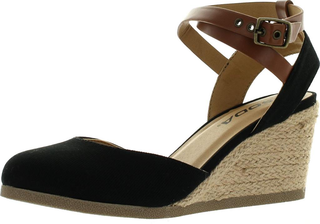 Soda Womens Request Closed Toe Espadrille Wedge Sandal In Black Dark Tan Linen