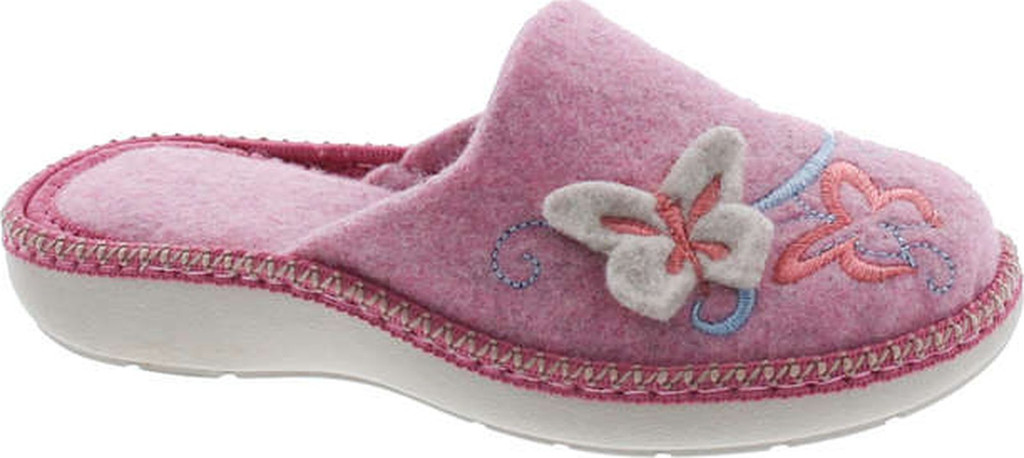 Sc Home Collection Girls 18317 Natural Wool Butterly Embroidered House Slippers Made In Europe