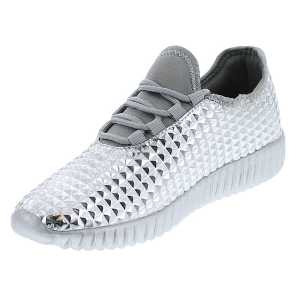 Cape Robbin Judo-1 Women Metallic Leatherette Quilted Lace Up Jogging Sneaker