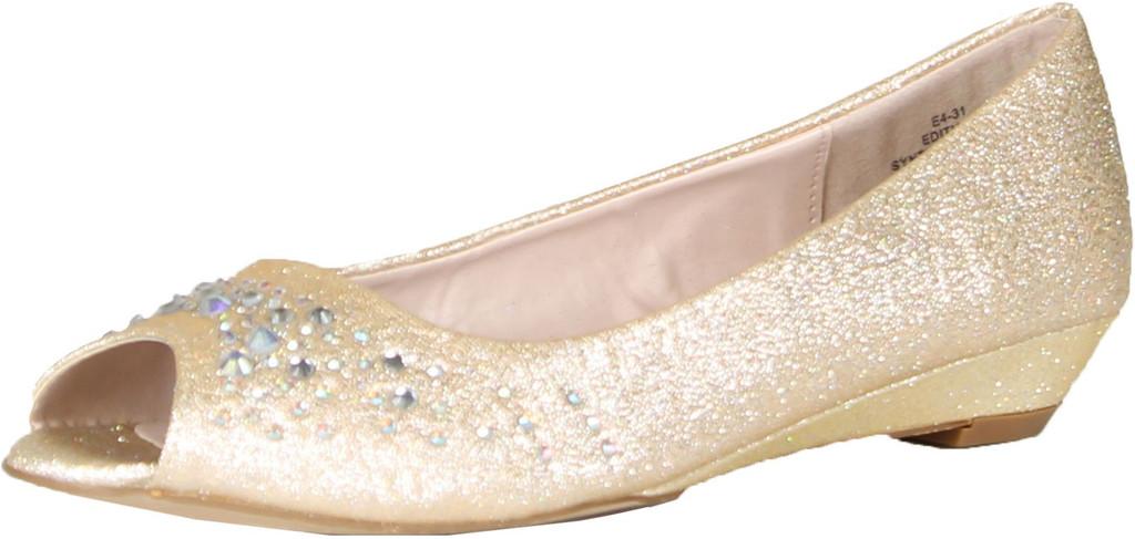 Blossom Womens Edith-10 Sparkle Peep Toe Low Wedge Heel Office Career Dress Pumps
