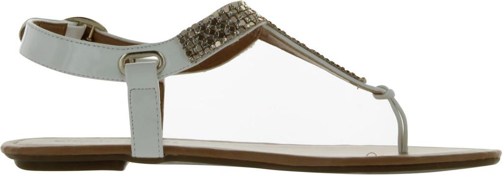 City Classified Women's Lynet Metallic Mesh T-Strap Thong Flat Slingback Sandal