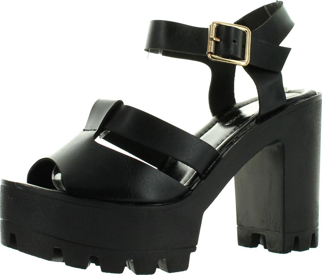 Top Moda Womens Basic-9 Peep Toe Strappy Slingback Lugsole Platform Chunky Heels
