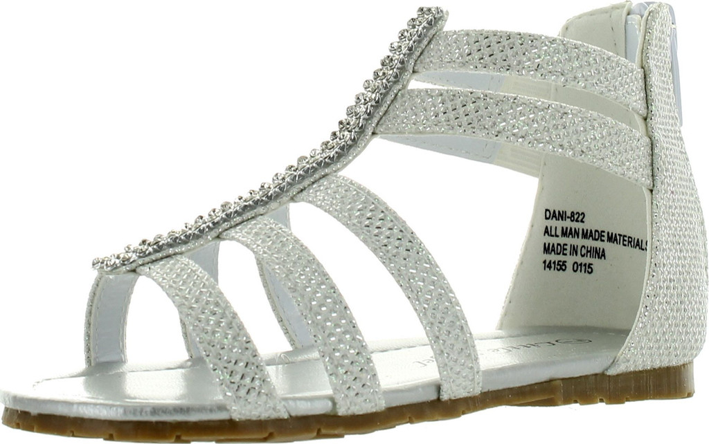 8512801e85d4 Little Angel Dani-822 Toddler s Strappy Rhinestone Back Zipper Flat Sandal  Shoes - ShoeCenter.com