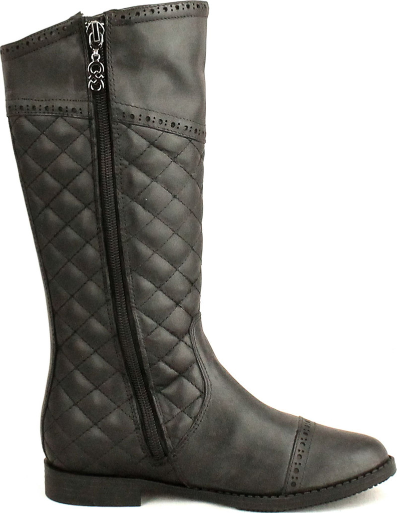 Cole Haan Girls Junior Nancy Quilted Equestrian Riding Fashion Boots