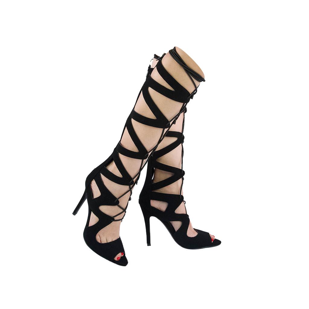 Qupid Womens Frasier-12 Gladiator Heel Sandals Black