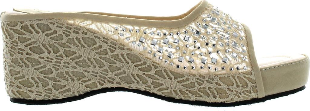 Bolaro Womens Dw4999 Crochet Lace Sparkle Open-Toe Flatform Wedge Sandal
