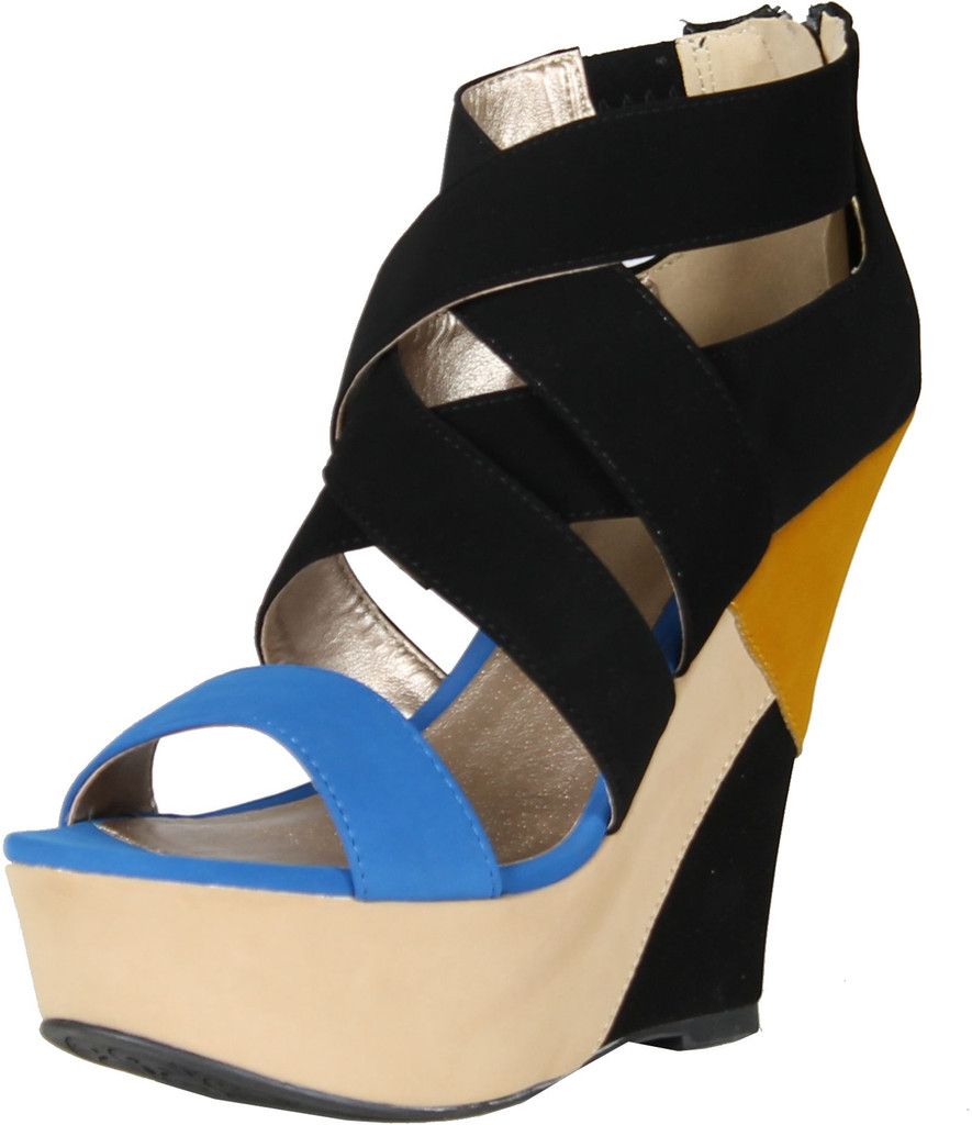Qupid Womens Finder-105 Open Toe Strappy Wedge Sandals