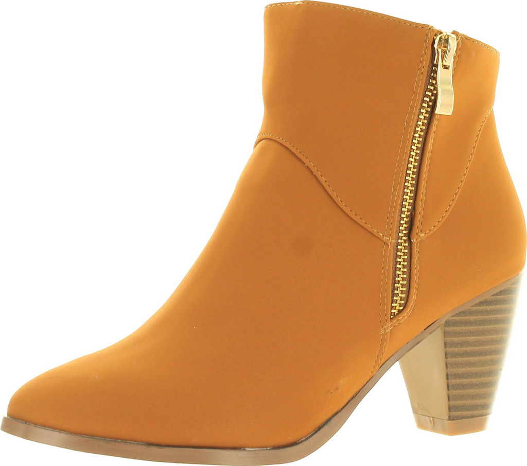 Bonnibel Dean-1 Women's Round Toe Stack Chunky Heel Ankle Booties With Side Zips