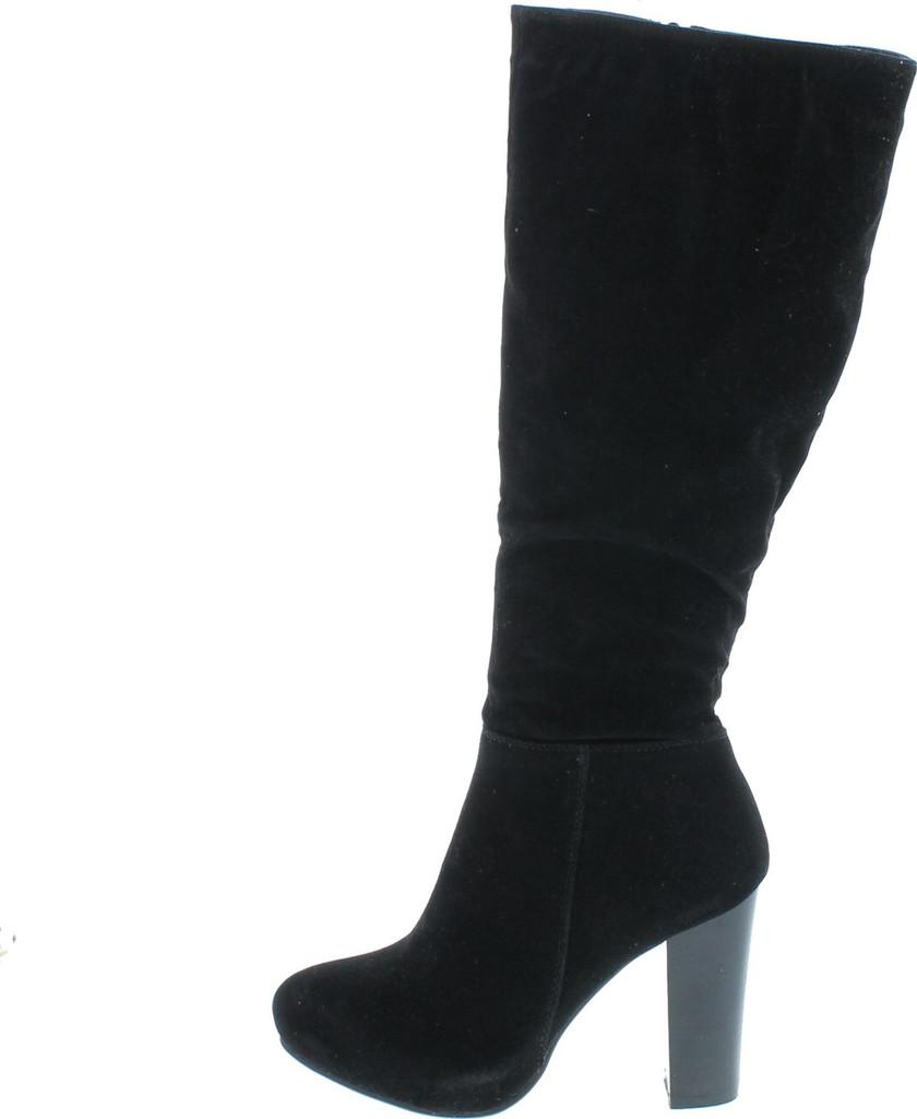 Refresh Womens Ringo-03 Knee High Side Zipper Closure Chunky High Heel Dress Boots
