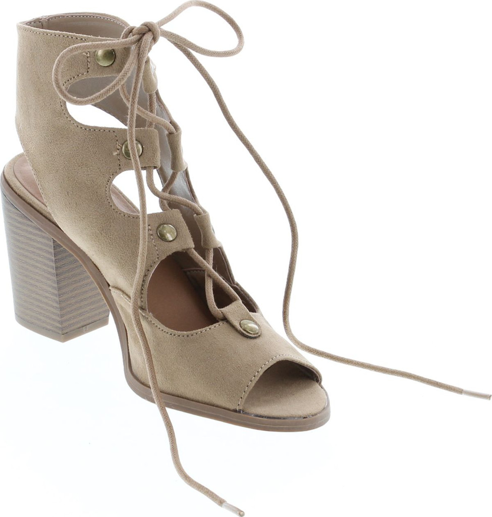 Soda Race Women's Stylish Lace Up Gladiator Cage Low Chunky Block Heel Sandal - Natural Suede
