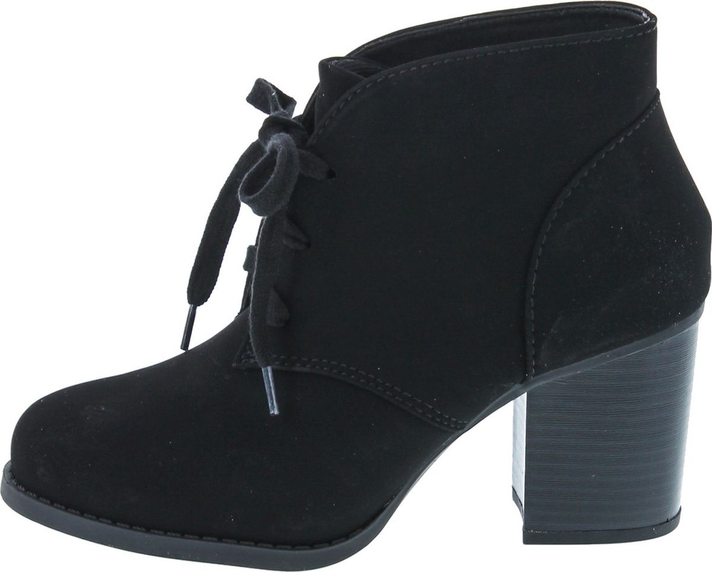 Delicious By Soda Women's Ripley Sueded Lace Up Chunky Stacked Heel Ankle Bootie