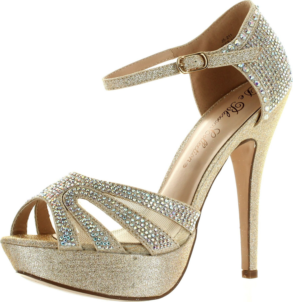 c698f5a09aa De Blossom Womens Vice-136 Strappy Glitter Stiletto Platform Ankle Strap  Dress Sandals - ShoeCenter.com