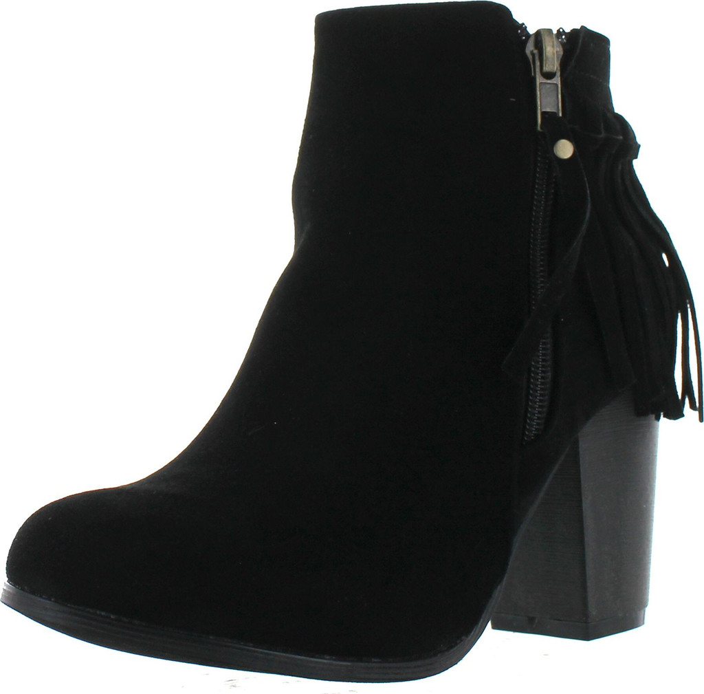 Adriana Juniper-55 Women's Chunky Heel Fringe Zipper Closure Ankle Booties