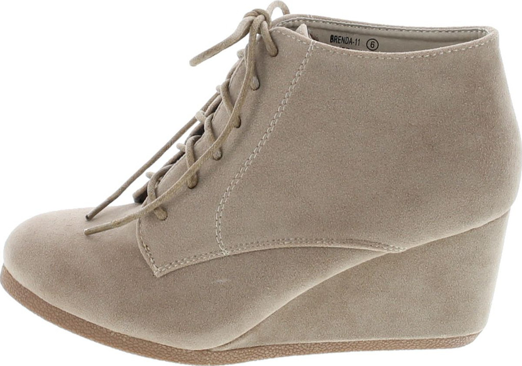 9f14d5bf522 Bella Marie Brenda-11 Women s High Top Lace Up Rounded Toe Platform Wedge  Suede Booties