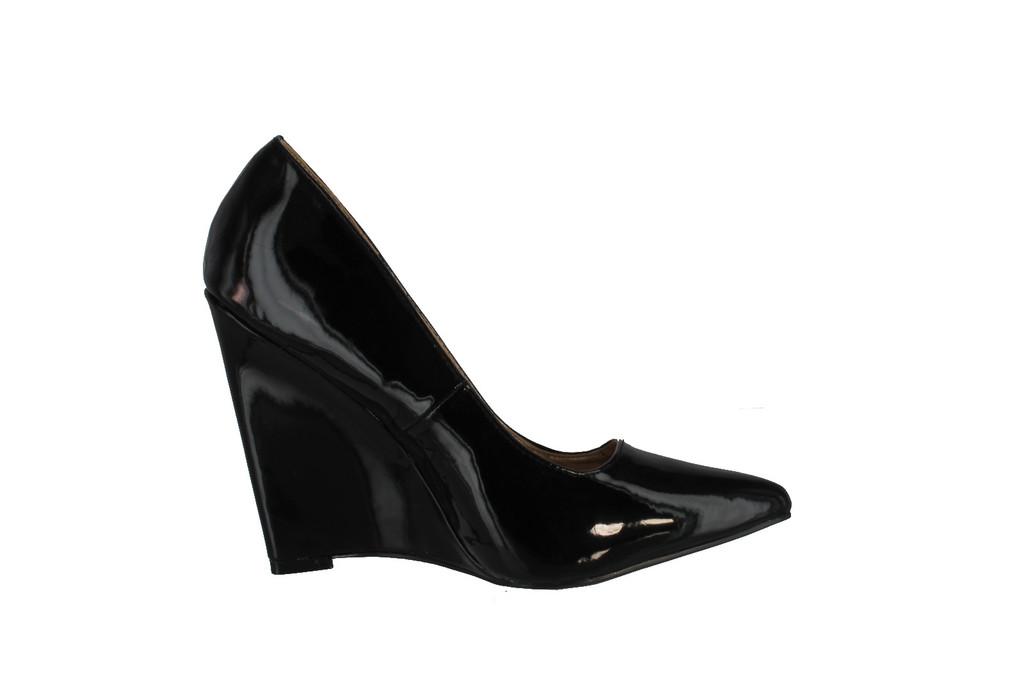 Qupid Meester-01 Single Sole Pointy Toe Wedge Heel Pump