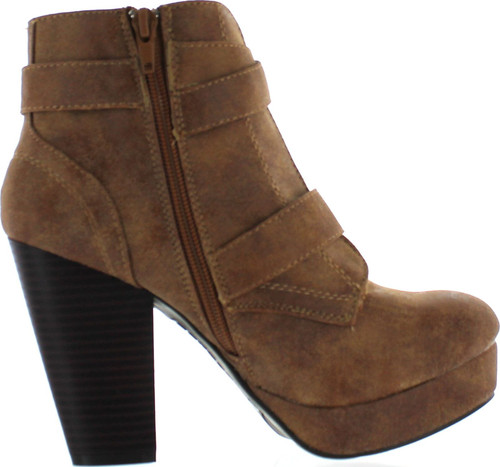 Bamboo  Womens Huxley-15 Almond Toe Strappy Buckle Platform Block Heel Ankle Booties