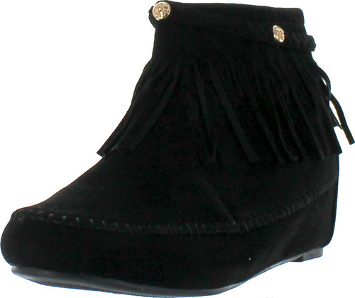 Bella Marie Campus-28 Womens Round Toe Moccasin Ankle High Faux Suede Boots