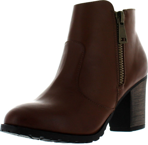 Bamboo Womens Chestnut Side Zipper Chunky Heel Bamboo Rattle-01